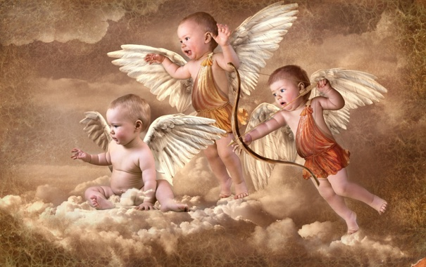Фото обои лук, облака, стрела, ангелочки, амуры, крылья, купидоны