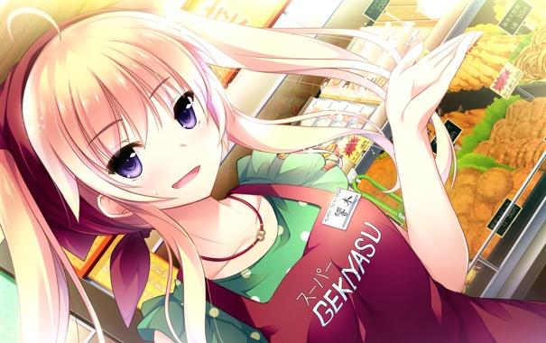 Фото обои взгляд, девушка, улыбка, жест, магазин, art, ojousama wa gokigen naname