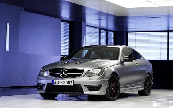 Фото обои Mercedes-Benz, Мерседес, Серебро, Капот, AMG, C63, 507