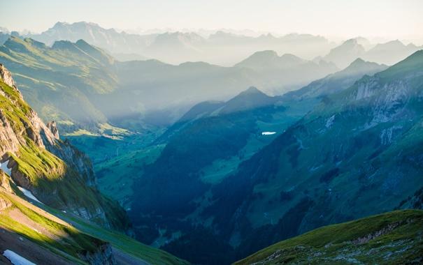 Фото обои лес, пейзаж, горы, долина, горный хребет, панорамма, Switzerland in the Alpsteinmassiv