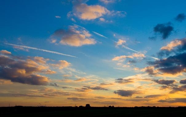 Фото обои небо, облака, пейзаж, закат, природа, вечер