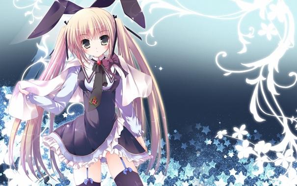 Фото обои абстракция, фон, арт, девочка, уши, заячьи, mizusawa mimori