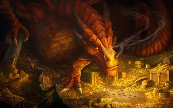 Фото обои золото, дракон, дым, арт, хоббит, сокровище, Хоббит: Пустошь Смауга
