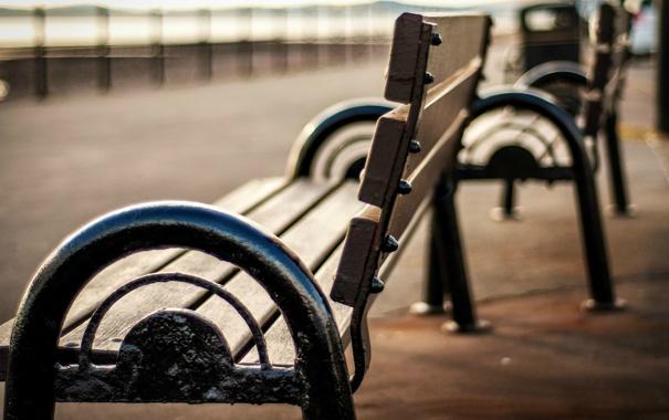 Фото обои скамейка, парк, фон, отдых, widescreen, обои, настроения