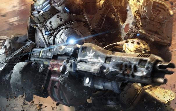 Фото обои металл, оружие, робот, Titanfall