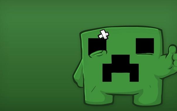 Фото обои Игра, Зеленый, 1920x1080, Minecraft, Крипер, Обоя, Майнкрафт