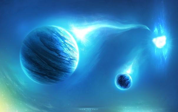Фото обои light, звезды, spase, планеты, сияние