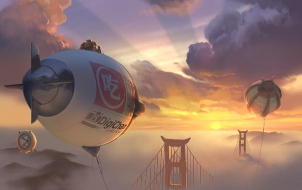Фото обои небо, облака, закат, мост, мультфильм, Калифорния, дирижабль