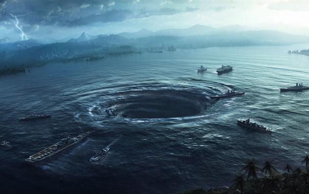 Фото обои море, озеро, молния, корабли, катастрофа, арт, воронка