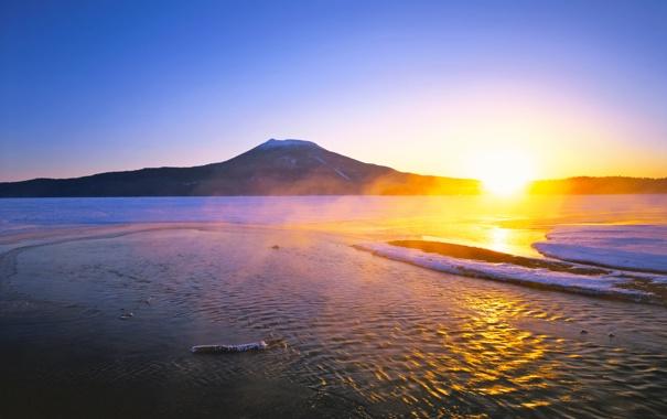 Фото обои солнце, озеро, восход, гора, Япония, Хоккайдо