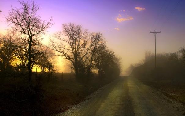 Фото обои дорога, пейзаж, закат, туман