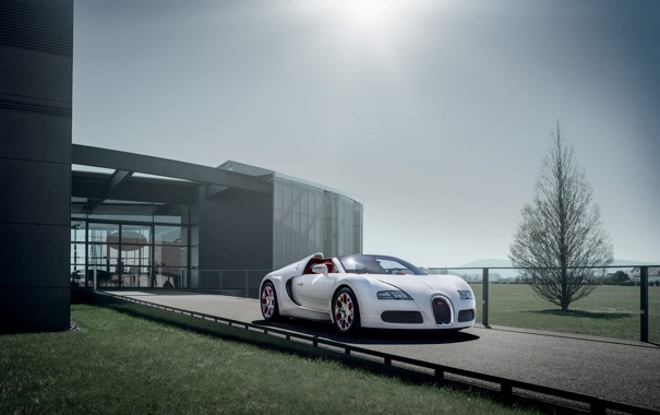 Фото обои белый, небо, Бугатти, Bugatti, Вейрон, Veyron, суперкар
