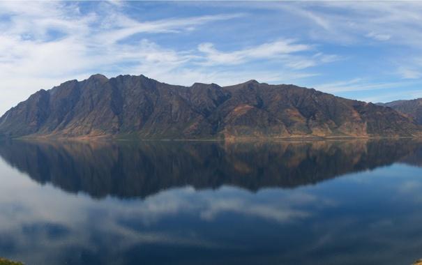 Фото обои небо, вода, горы, фото, пейзажи, вид, 3200x1200