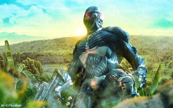 Фото обои джунгли, солдат, Crysis