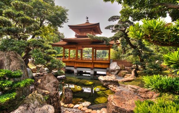 Фото обои природа, парк, сад, bridge, garden, china, hongkong