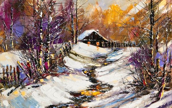 Фото обои зима, снег, деревья, забор, домик, Краски