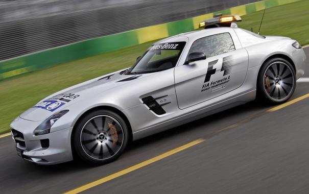 Фото обои Mercedes-Benz, supercar, AMG, SLS, speed, track, Safety Car