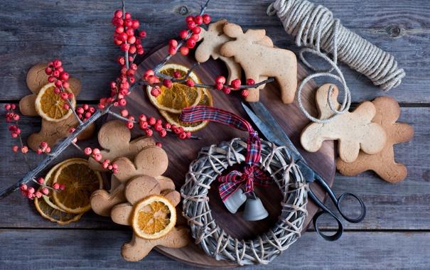 Фото обои зима, еда, апельсины, печенье, доска, натюрморт, нитки
