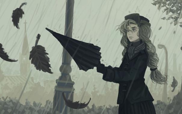 Фото обои девушка, дождь, листья, зонт, осень