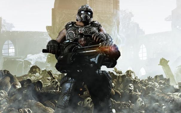 Фото обои солдат, трупы, пулемёт, gears of war 3