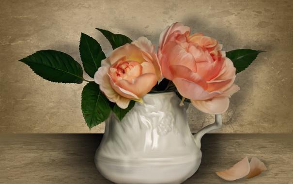 Фото обои цветы, розы, лепестки, кувшин