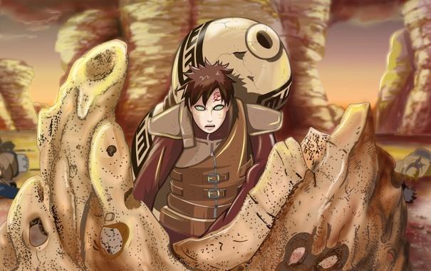 Фото обои песок, усталость, битва, парень, Наруто, Naruto, трупы