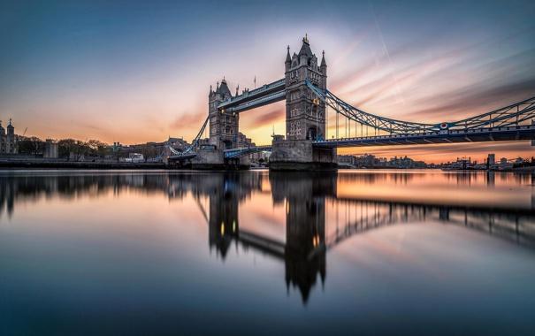 Фото обои закат, облака, река, небо, башня, Темза, опора