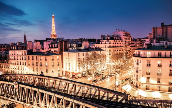 Фото обои свет, машины, ночь, мост, город, огни, Франция