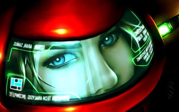 Фото обои взгляд, шлем, Samus Aran, Metroid