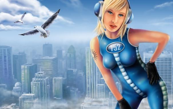 Фото обои девушка, солнце, птицы, город, высота, небоскребы, наушники