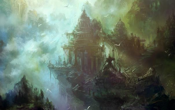 Фото обои облака, пейзаж, горы, город, туман, арт, zyxlx