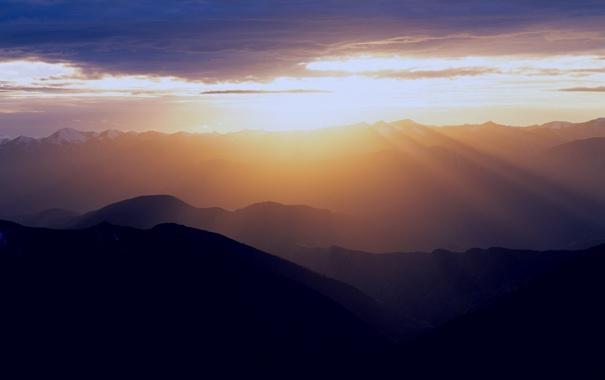Фото обои солнце, лучи, свет, горы, фото, пейзажи, китай