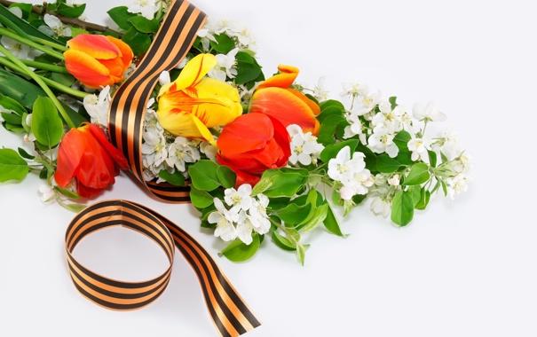 Фото обои Вечная память героям войны!, георгиевская, 9 мая, День Победы, ленточка, цветы