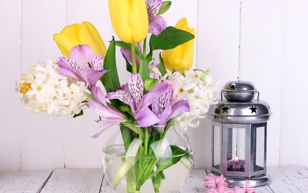 Фото обои фото, Цветы, Тюльпаны, Фонарь, Ваза, Альстрёмерия, Гиацинты