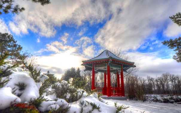 Фото обои зима, небо, снег, беседка