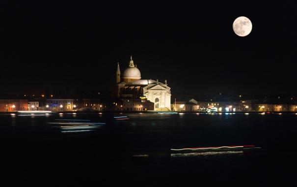 Фото обои ночь, огни, луна, Италия, Венеция, собор, канал