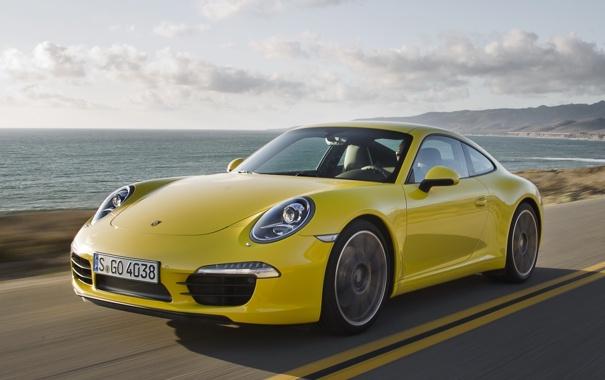 Фото обои дорога, небо, желтый, побережье, купе, 911, суперкар