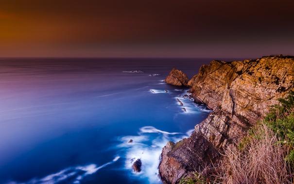 Фото обои море, пейзаж, скалы, рассвет, берег