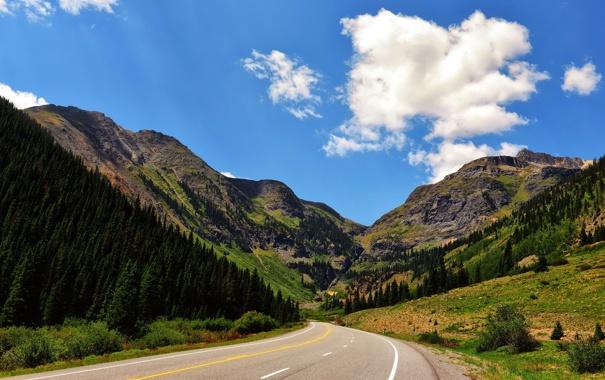 Фото обои дорога, лето, пейзаж, горы