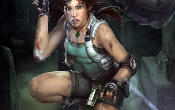 Фото обои взгляд, девушка, лицо, оружие, кровь, пистолеты, игра