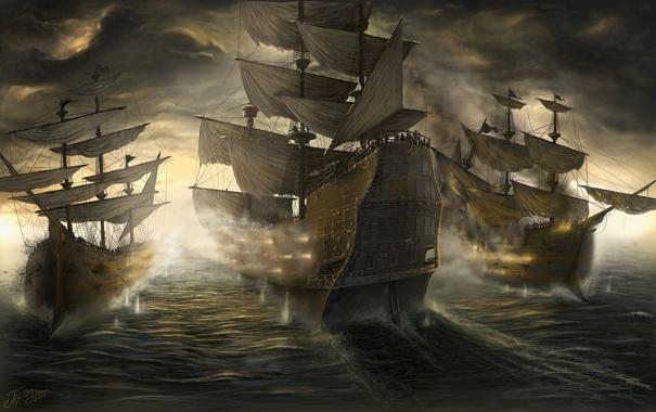 Фото обои море, пушки, парус, Корабли, сражение