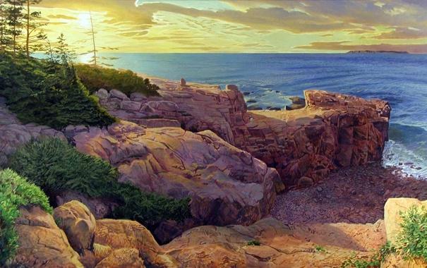 Фото обои море, солнце, деревья, пейзаж, скалы