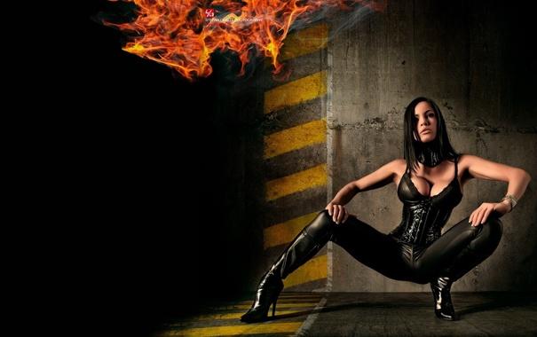 Обои картинки фото really, hot, babe, брюнетка, чёрная, одежда