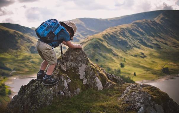 Фото обои природа, ребенок, путешественник, рюкзак