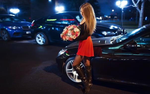 Фото обои авто, город, букет, ножки, Катя