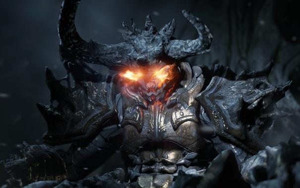 Фото обои пламя, камень, демон, пробуждение, unreal engine 4