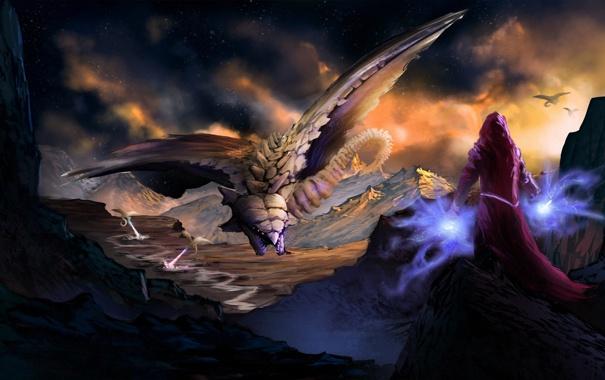 Фото обои девушка, горы, скалы, магия, драконы, арт, монстры
