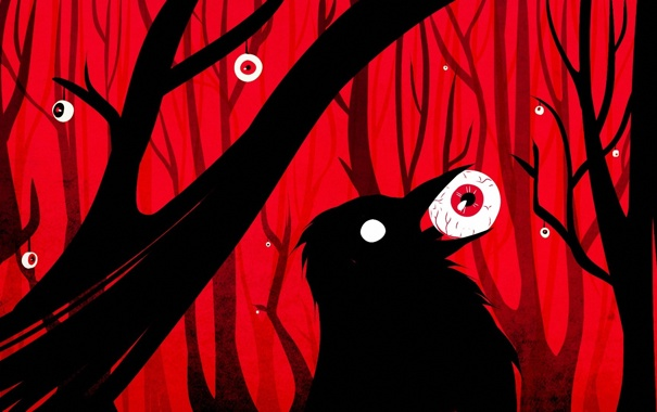 Фото обои лес, глаза, птица, арт, ворон, красный фон, мрачно