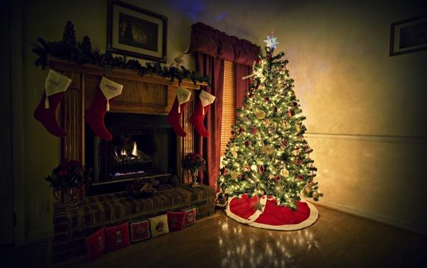 Фото обои фон, комната, огонь, праздник, обои, елка, новый год