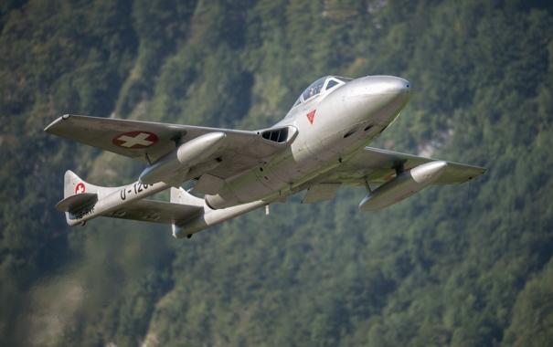 Фото обои истребитель, полёт, реактивный, Vampire, De Havilland, DH-115